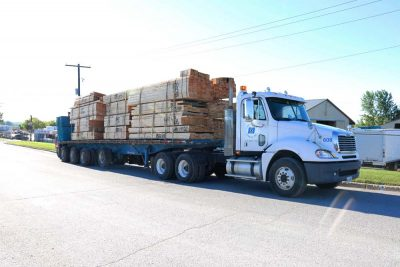 truck loaded with lumber from Lake Scugog Lumber